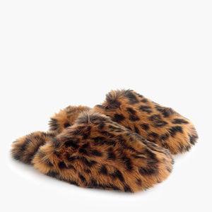 NWT J. Crew Leopard Fuzzy Slipper, sz L, 10-11